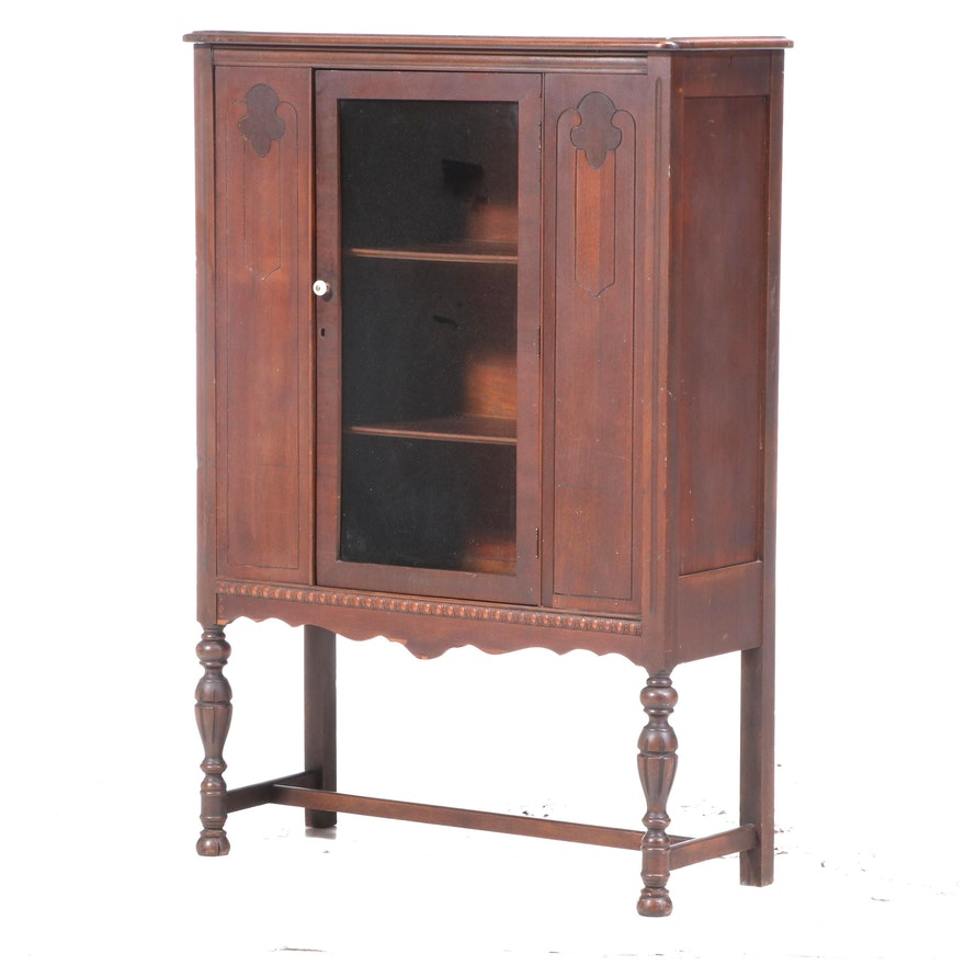 Jacobean Style Glass Front China Cabinet, Early 20th Century