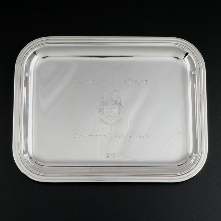 Christofle Silver Plate Indian Hill Club Engraved Commemorative Tray