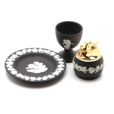 "English Wedgwood Black Jasperware Egg Cup, Table Lighter and ""Aurora"" Dish"
