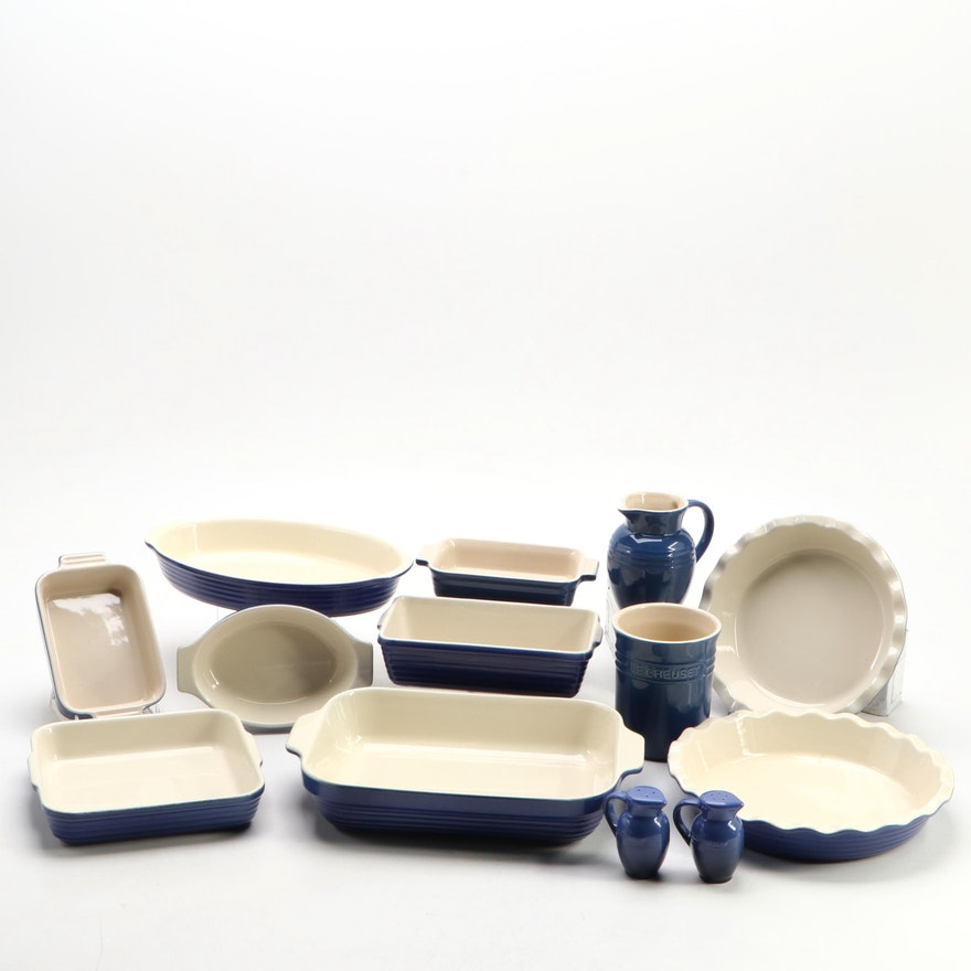 Le Creuset Marseille and Emile Henry Stoneware Bakeware and Table Accessories