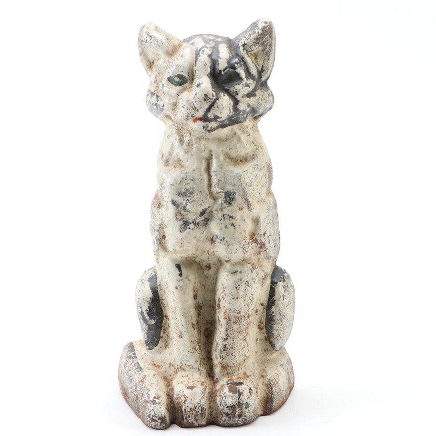 Cold Painted Cast Iron Sitting Cat Doorstop in White, Possibly National Foundry
