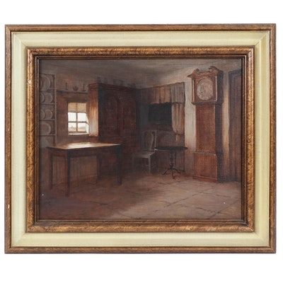 Oil Painting of Primitive Interior, Mid 20th Century