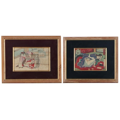 Japanese Erotic Shunga Woodblocks, Late 19th Century