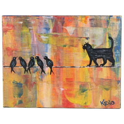 "Keno Contemporary Folk Art Acrylic Painting ""Out on a Wire,"" 2020"