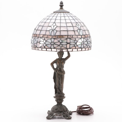 Bronzed Art Nouveau Style Pink Stained Glass Table Lamp