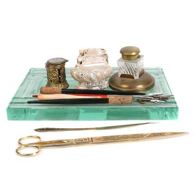 Ronson Lighters, Toledo Enameled Brass Scissors and Desk Decor, Early/Mid 20th C