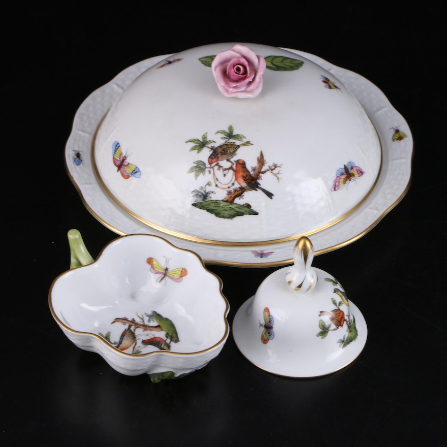 "Herend ""Rothschild Bird"" Porcelain Lidded Muffin Dish with Bowl and Bell"