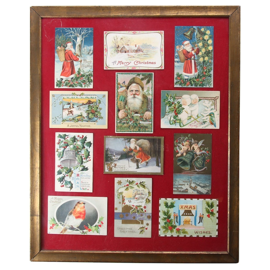 Framed Victorian Christmas Greeting Card Collection, Early 20th Century