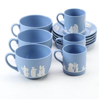Wedgwood Blue Jasperware Demitasse Cups, Saucers, and Mugs