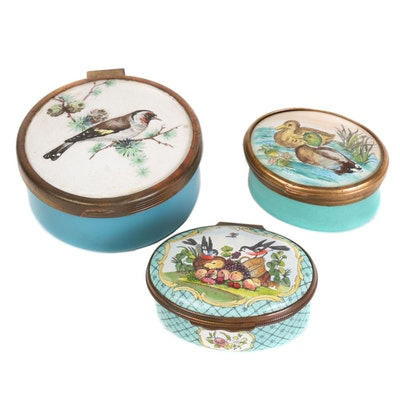 Bilston and Battersea and Halcyon Days Enamel Boxes, Mid to Late 20th Century