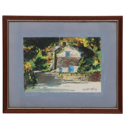 Impressionist Style Landscape Watercolor Painting