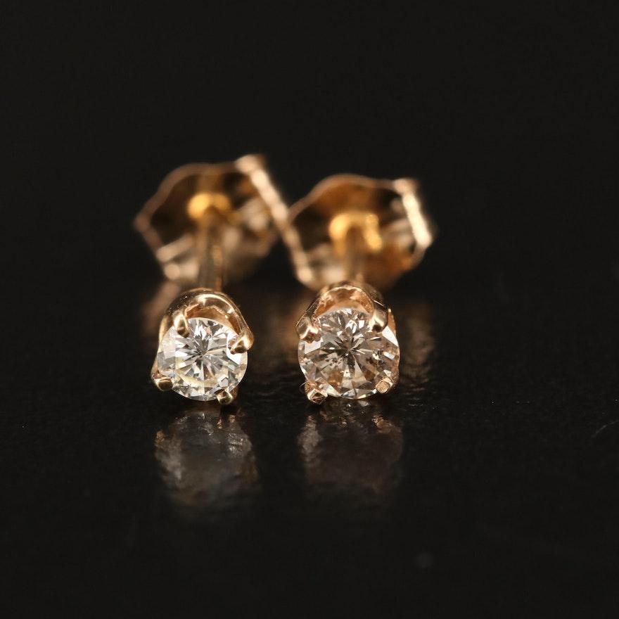 14K 0.20 CTW Diamond Single Stud Earrings
