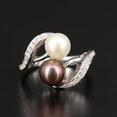 14K Pearl and Diamond Bypass Ring