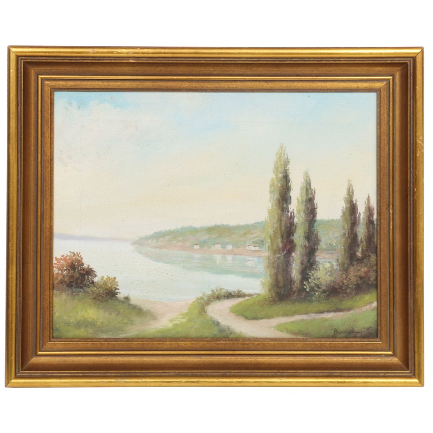 Academic Style Landscape Oil Painting, Late 20th Century