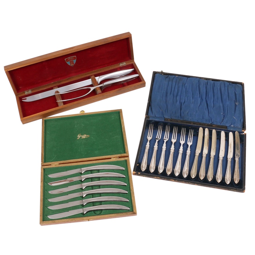 Silver Plate Fruit Set in Case with Steak Knives and Carving Set