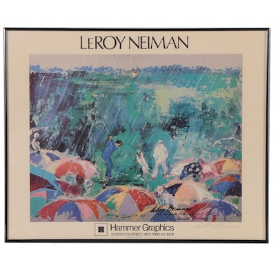 "LeRoy Neiman Offset Lithograph ""Arnie in the Rain,"" Late 20th Century"