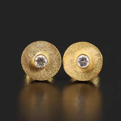14K Bezel Set Diamond Earrings