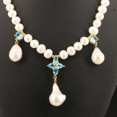 Sterling Silver Topaz and Pearl Dangle Necklace