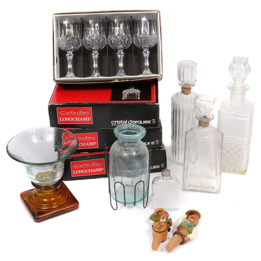 "Cristal d'Arques  Longchamp Collection ""Diamax"" Wine Glasses  and Other Barware"
