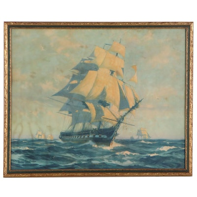 "Offset Lithograph after Gordon Grant ""1927 Schooner Ship Windjammer"""