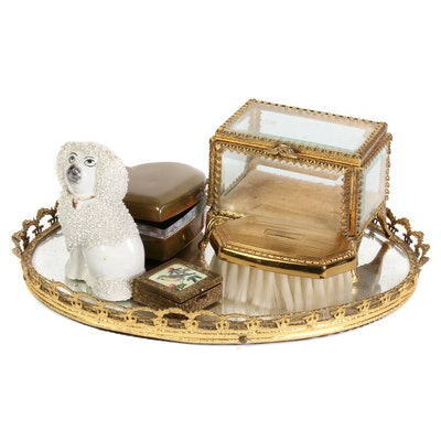 Staffordshire Style Poodle and Vanity Boxes and Tray, Early to Mid 20th Century
