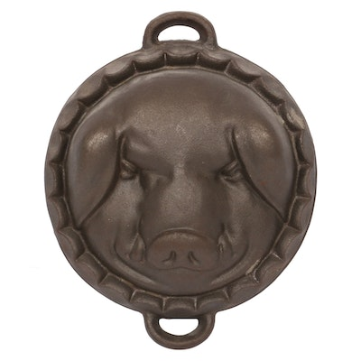 Cast Iron Boar's Head Brawn or Head Cheese Mold, Vintage