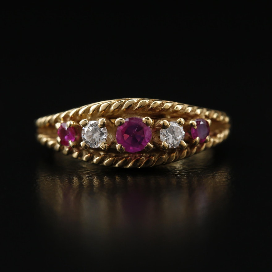 18K Ruby and Diamond Ring with Rope Patterned Edges