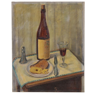William E. Gebhardt Oil Painting of Cheese and Wine Still Life, 20th Century