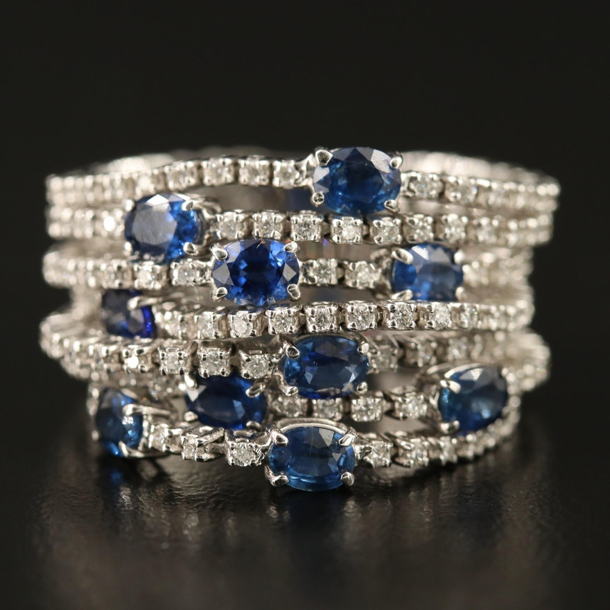 Roberto Demeglio 18K Sapphire and 1.10 CTW Diamond Multi-Band Ring