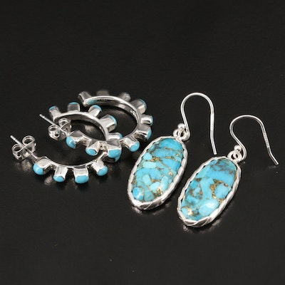 Sterling Turquoise and Faux Turquoise Hoop and Dangle Earrings