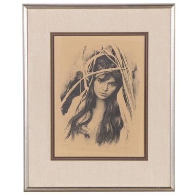 Sandu Liberman Portrait Lithograph, 20th Century
