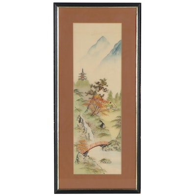 Chinese Watercolor Painting of a Village, Late 20th Century