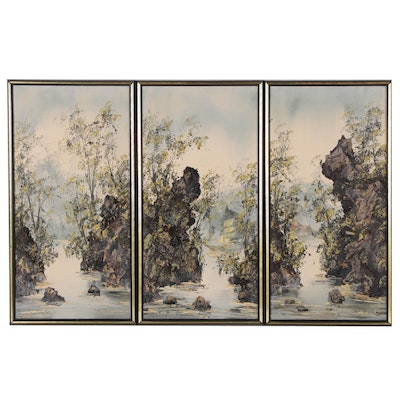 Kee Fung Ng Impasto Triptych Oil Painting of Forest, Late 20th Century