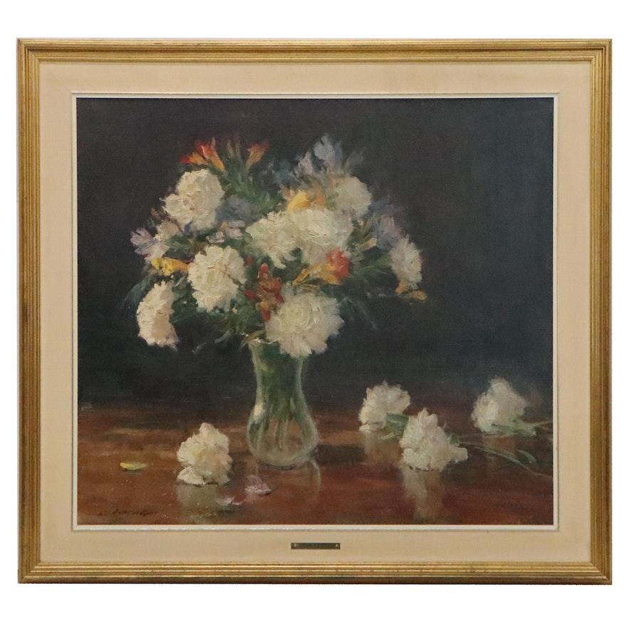 "Hand-Embellished Offset Lithograph After Clyde Aspevig ""White Carnations"""