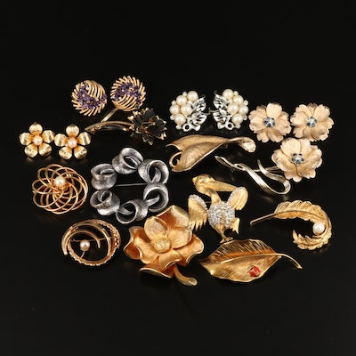 Vintage Brooches and Earrings Featuring Hattie Carnegie Pelican Brooch