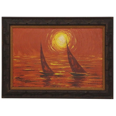 Nautical Sunset Acrylic Painting, Late 20th Century