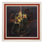N. Perez Impasto Oil Painting of Abstract Wine Glass, 1970