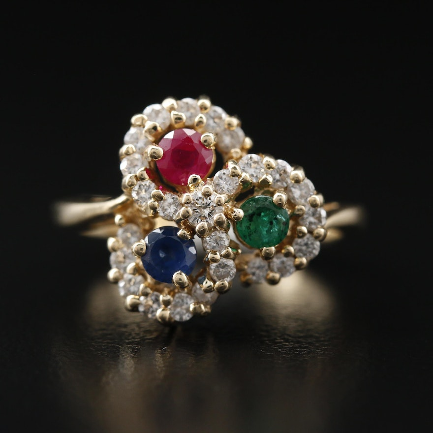 14K Emerald, Ruby, Sapphire and Diamond Ring