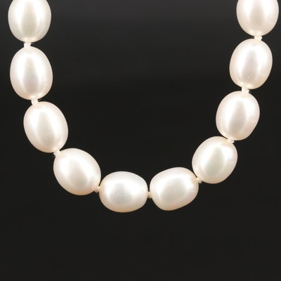 Hand Knotted Pearl and Diamond Strand Necklace with 14K Clasp