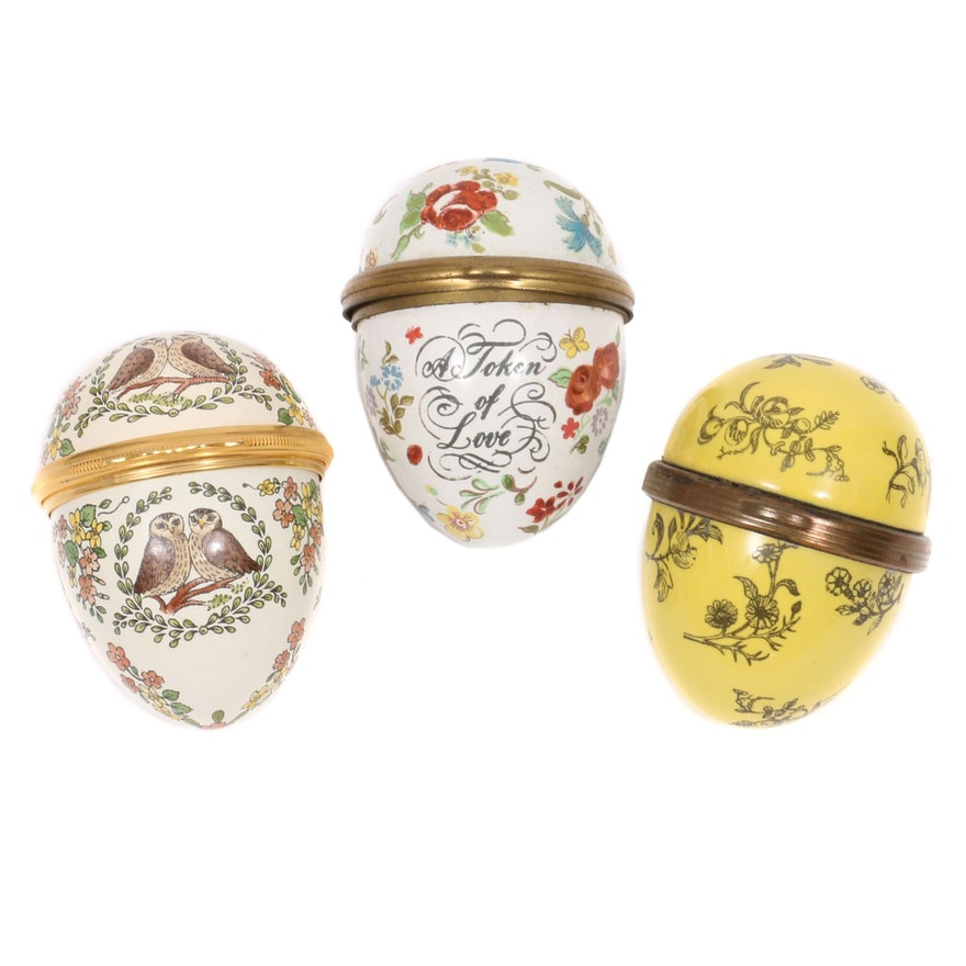 Halcyon Days and Bilston Enameled Egg Shaped Boxes, Mid to Late 20th Century