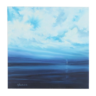 """Victor Kovalenko Abstract Seascape Oil Painting """"Shades of Blue"""", 2020"""