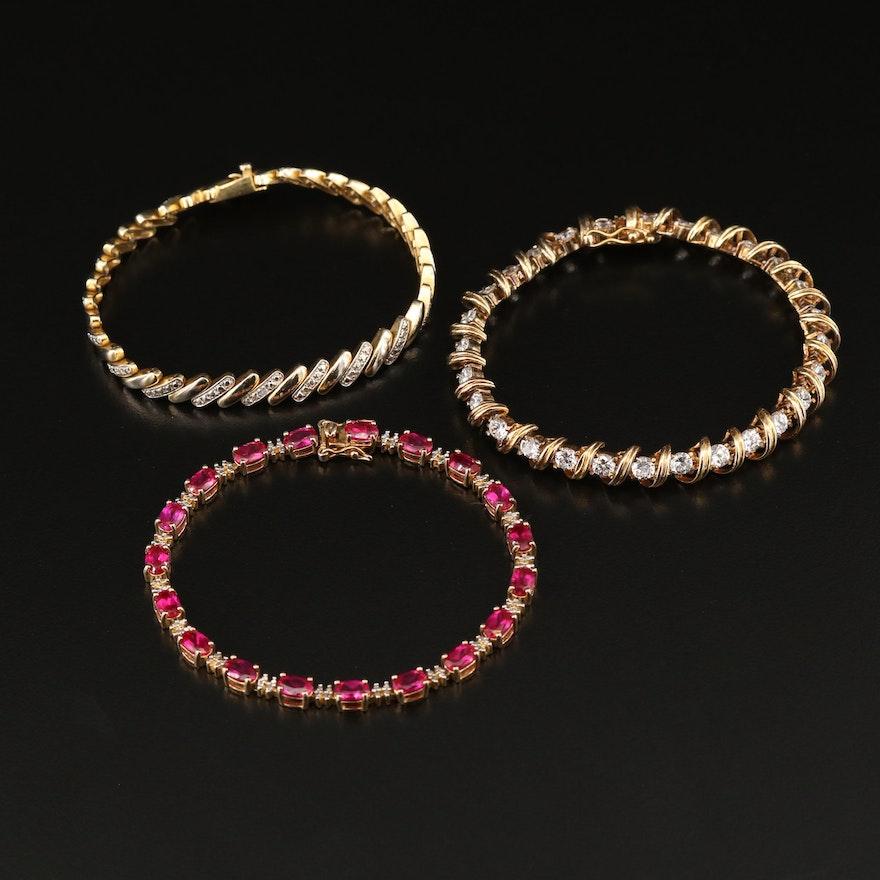Sterling Silver Diamond, Ruby and Cubic Zirconia Line Bracelets