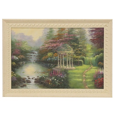 "Oil Painting after Thomas Kinkade ""Garden of Prayer,"" Late 20th Century"