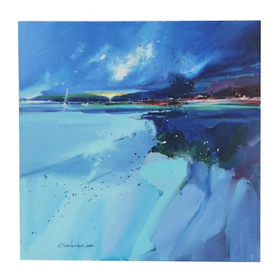 """Victor Kovalenko Abstract Seascape Oil Painting """"Turquoise Depth,"""" 2020"""