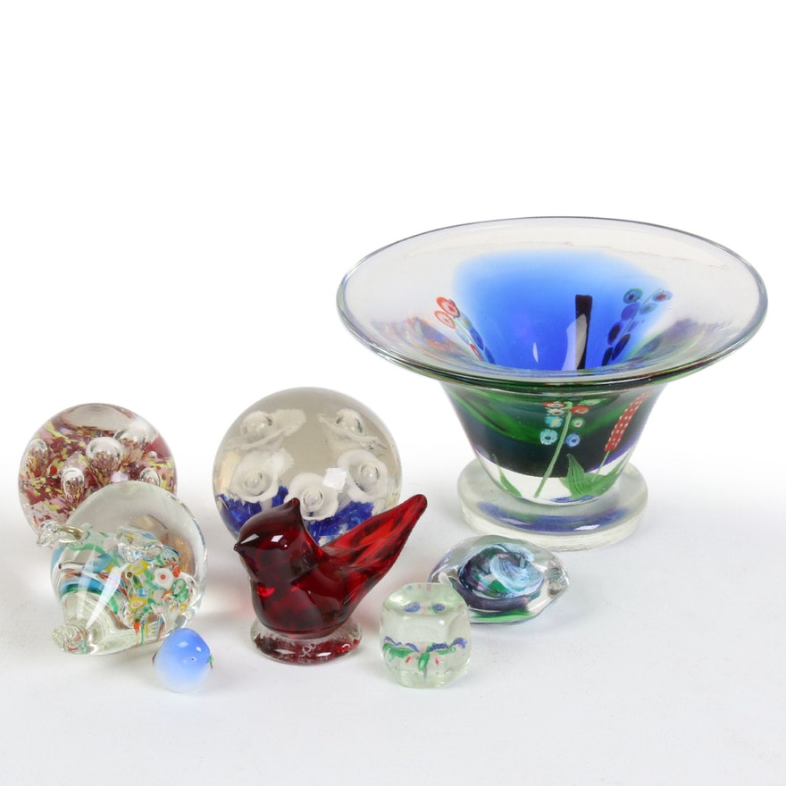 Murano Style Art Glass Bowl, Paperweights, and Figurines