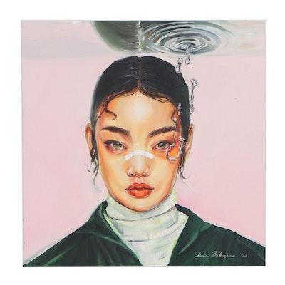 """Maria Babushka Oil Painting after Aykut Aydoğdu """"Tear of an Angel,"""" 2020"""