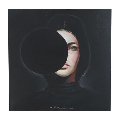 "Maria Babushka Surreal Oil Painting after Aykut Aydoğdu ""Riddle,"" 2020"