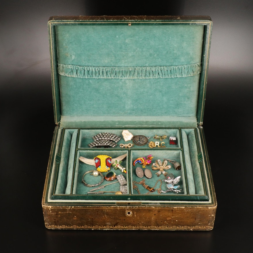 Jewelry Box Including Jewelry Featuring Shoe Clips and Pins