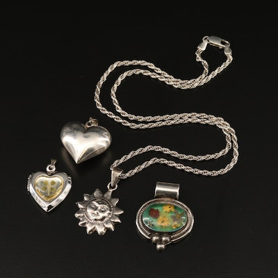 Sterling Silver Sun Necklace and Pendants with Clover Heart Locket