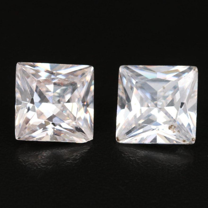 Loose Laboratory Grown Square Faceted Cubic Zirconias